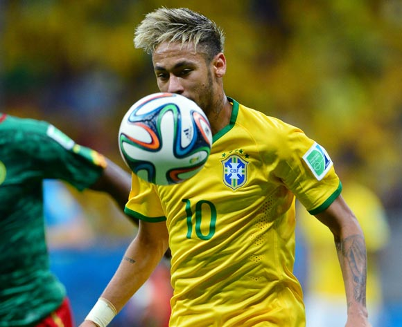 Neymar of Brazil during the 2014 Brazil World Cup Final Group A football match between Cameroon and Brazil at the Estadio Nacional Brasilia, Brazil on 23 June 2014