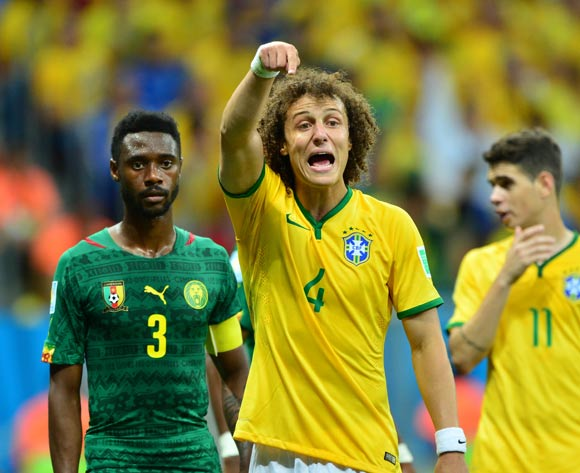 David Luiz of Brazil calls for ball during the 2014 Brazil World Cup Final Group A football match between Cameroon and Brazil at the Estadio Nacional Brasilia, Brazil on 23 June 2014
