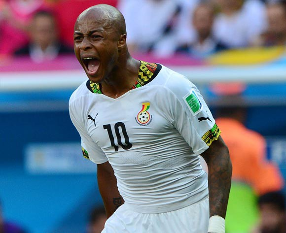 Andre Ayew of Ghana appeals to referee  during the 2014 Brazil World Cup Final Group G football match between Portugal and Ghana at the Estadio Nacional Brasilia, Brazil on 26 June 2014