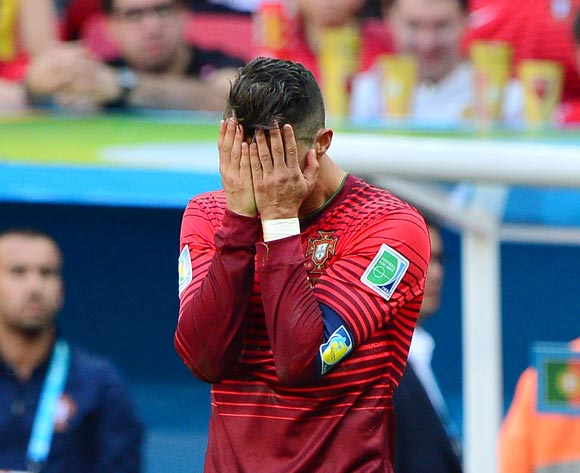 Cristiano Ronaldo of Portugal reacts in disappointment after missed chance during the 2014 Brazil World Cup Final Group G football match between Portugal and Ghana at the Estadio Nacional Brasilia, Brazil on 26 June 2014