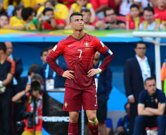 Cristiano Ronaldo of Portugal reacts in disappointment after missed chance during the 2014 Brazil World Cup Final Group G football match between Portugal and Ghana at the Estadio Nacional Brasilia, Brazil on 26 June 2014 ©Gavin