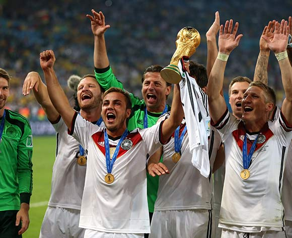 Germany's Mario Goetze (left) and Bastian Schweinsteiger celebrates after Germany won the FIFA World Cup Final at the Estadio do Maracana, Rio de Janerio, Brazil.