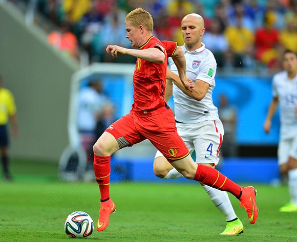 Kevin De Bruyne of Belgium gets away from Michael Bradley of the USA during the 2014 Brazil World Cup Final Last 16 football match between Belgium and USA  at the Arena Fonte Nova in Salvador, Brazil on 01 July  2014