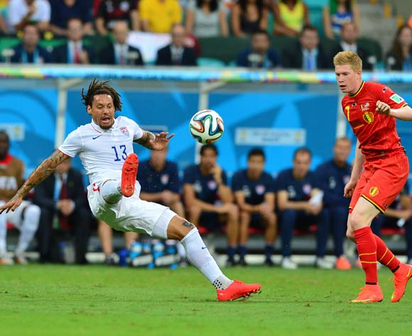 Jermaine Jones of the USA clears ball from Kevin De Bruyne of Belgium  during the 2014 Brazil World Cup Final Last 16 football match between Belgium and USA  at the Arena Fonte Nova in Salvador, Brazil on 01 July  2014