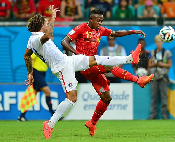 Jermaine Jones of the USA challenges Divock Origi of Belgium during the 2014 Brazil World Cup Final Last 16 football match between Belgium and USA  at the Arena Fonte Nova in Salvador, Brazil on 01 July  2014