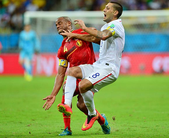 Clint Dempsey of the USA fouled by Vincent Kompany of Belgium  during the 2014 Brazil World Cup Final Last 16 football match between Belgium and USA  at the Arena Fonte Nova in Salvador, Brazil on 01 July  2014
