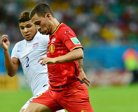 Eden Hazard of Belgium challenged by Deandre Yedlin of the USA during the 2014 Brazil World Cup Final Last 16 football match between Belgium and USA  at the Arena Fonte Nova in Salvador, Brazil on 01 July  2014