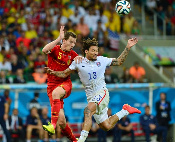 Jan Vertonghen of Belgium and Jermaine Jones of the USA challenge for the ball  during the 2014 Brazil World Cup Final Last 16 football match between Belgium and USA  at the Arena Fonte Nova in Salvador, Brazil on 01 July  2014