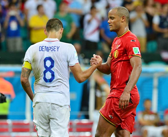 Vincent Kompany of Belgium and Clint Dempsey of the USA during the 2014 Brazil World Cup Final Last 16 football match between Belgium and USA  at the Arena Fonte Nova in Salvador, Brazil on 01 July  2014