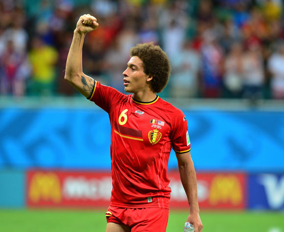 Axel Witsel of Belgium punches air in delight after win during the 2014 Brazil World Cup Final Last 16 football match between Belgium and USA  at the Arena Fonte Nova in Salvador, Brazil on 01 July  2014