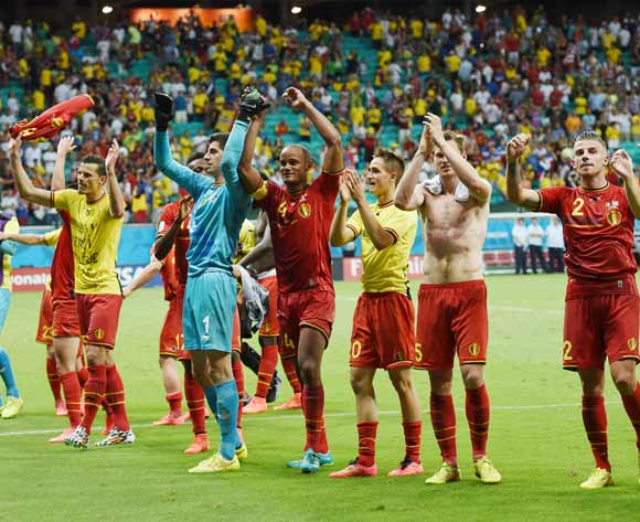 Belgium players acknowledge fans during the 2014 Brazil World Cup Final Last 16 football match between Belgium and USA  at the Arena Fonte Nova in Salvador, Brazil on 01 July  2014