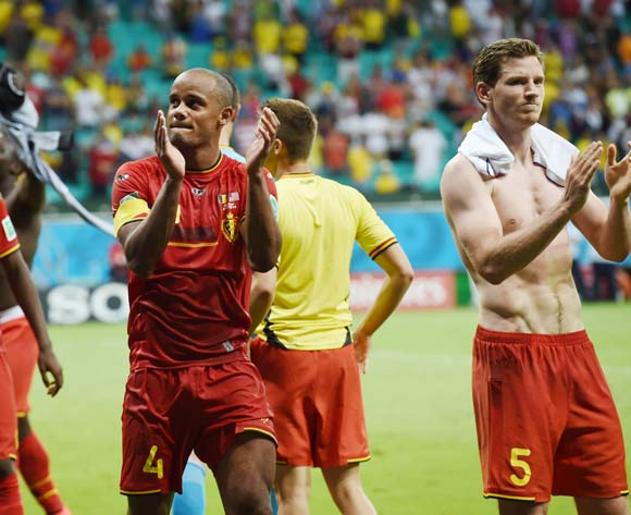 Vincent Kompany of Belgium acknowledges fans during the 2014 Brazil World Cup Final Last 16 football match between Belgium and USA  at the Arena Fonte Nova in Salvador, Brazil on 01 July  2014