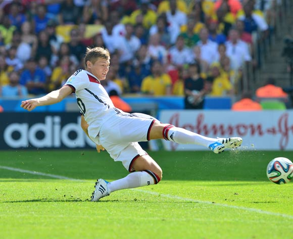 Toni Kroos of Germany shoots at goal during the 2014 Brazil World Cup Final Quarterfinal football match between France and Germany at the Maracana Stadium in Rio De Janeiro on 4 July 2014