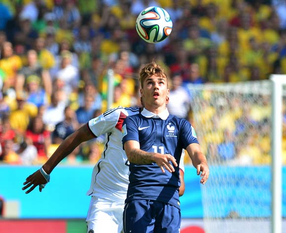 Antoine Griezmann of France controls ball in front of Jerome Boateng of Germany  during the 2014 Brazil World Cup Final Quarterfinal football match between France and Germany at the Maracana Stadium in Rio De Janeiro on 4 July 2014