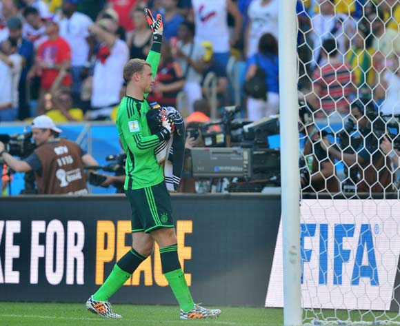 Manuel Neuer of Germany acknowledges fans at end of game  during the 2014 Brazil World Cup Final Quarterfinal football match between France and Germany at the Maracana Stadium in Rio De Janeiro on 4 July 2014