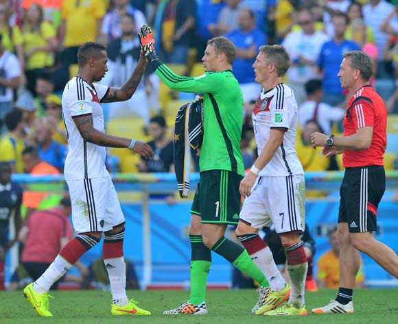Manuel Neuer of Germany congratulated by Jerome Boateng of Germany at end of game  during the 2014 Brazil World Cup Final Quarterfinal football match between France and Germany at the Maracana Stadium in Rio De Janeiro on 4 July 2014