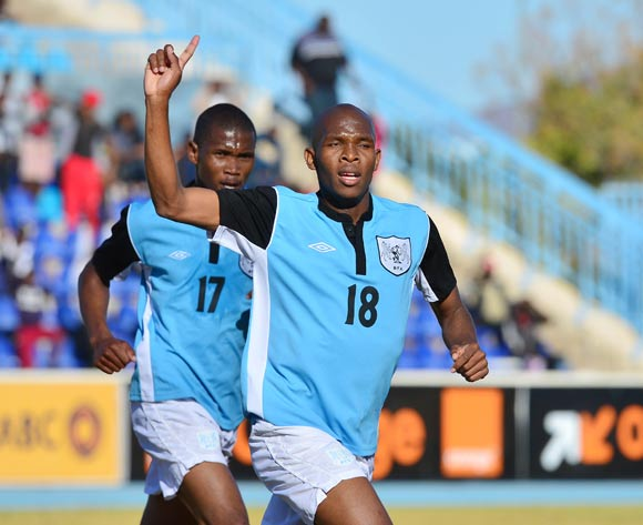Lemponye Tshireletso of Botswana celebrates goal  during the 2015 African Cup of Nations football qualifier between Botswana and Guinea Bissau at the National Stadium in Gaborone on 19 July 2014