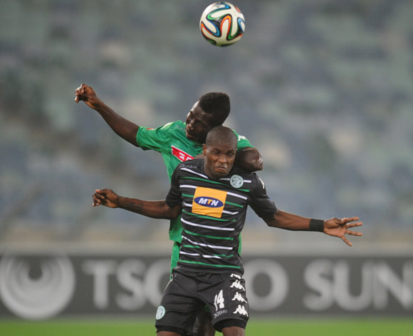 Lerato Lamola of Bloemfontein Celtic battles John Arwuah of AmaZulu during the Absa Premiership 2014/15 football match between AmaZulu and Bloemfontein Celtic at the Moses Mabhida Stadium in Durban , Kwa-Zulu Natal on the 27th of August 2014