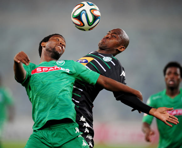 Bongani Ndulula of AmaZulu battling Alferd Ndengane of Bloemfontein Celtic during the Absa Premiership 2014/15 football match between AmaZulu and Bloemfontein Celtic at the Moses Mabhida Stadium in Durban , Kwa-Zulu Natal on the 27th of August 2014