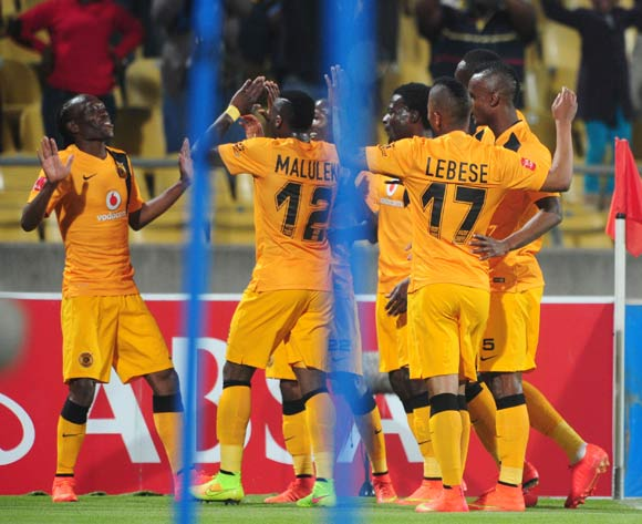 Reneilwe Letsholonyane of Kaizer Chiefs celebrates his goal with teammates during the Absa Premiership 2014/15 match between Platinum Stars and Kaizer Chiefs at Royal Bafokeng Stadium,  Rustenburg on the 26 August  2014