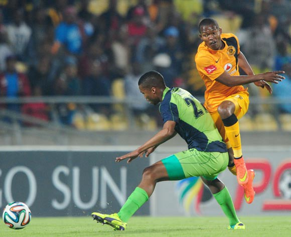 Mandla Masango of Kaizer Chiefs fouled by Tshepo Gumede of Platinum Stars during the Absa Premiership 2014/15 match between Platinum Stars and Kaizer Chiefs at Royal Bafokeng Stadium,  Rustenburg on the 26 August  2014
