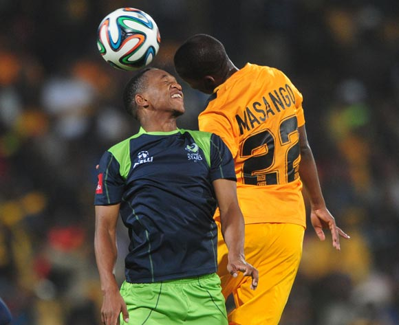 Mandla Masango of Kaizer Chiefs battles with Luvolwethu Mpeta of Platinum Stars during the Absa Premiership 2014/15 match between Platinum Stars and Kaizer Chiefs at Royal Bafokeng Stadium,  Rustenburg on the 26 August  2014