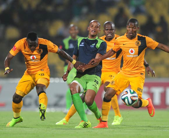 Solomon Mathe of Platinum Stars challenged by Mandla Masango and George Maluleka of Kaizer Chiefs during the Absa Premiership 2014/15 match between Platinum Stars and Kaizer Chiefs at Royal Bafokeng Stadium,  Rustenburg on the 26 August  2014