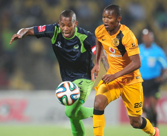 Mandla Masango of Kaizer Chiefs challenged by Vuyo Mere of Platinum Stars during the Absa Premiership 2014/15 match between Platinum Stars and Kaizer Chiefs at Royal Bafokeng Stadium,  Rustenburg on the 26 August  2014