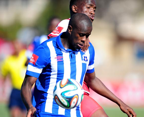 Kwanda Mngonyama of Maritzburg United and Moeketsi Sekola of Free State Stars during the Absa Premiership 2014/15 football match between Free State Stars and Maritzburg United at the Goble Park Stadium in Bethlehem , Free State Province on the 30th of August 2014