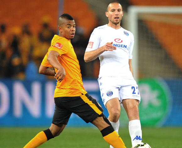 Roscoe Pietersen of Supersport United challenged by George Lebese of Kaizer Chiefs  during the Absa Premiership match between Kaizer Chiefs and Supersport United at FNB Stadium on the 30 August 2014