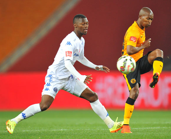 Mandla Masango of Kaizer Chiefs challenged by Thato Mokeke of Supersport United during the Absa Premiership match between Kaizer Chiefs and Supersport United at FNB Stadium on the 30 August 2014