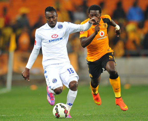 Dove Wome of Supersport United challenged by Kingston Nkhatha of Kaizer Chiefs during the Absa Premiership match between Kaizer Chiefs and Supersport United at FNB Stadium on the 30 August 2014