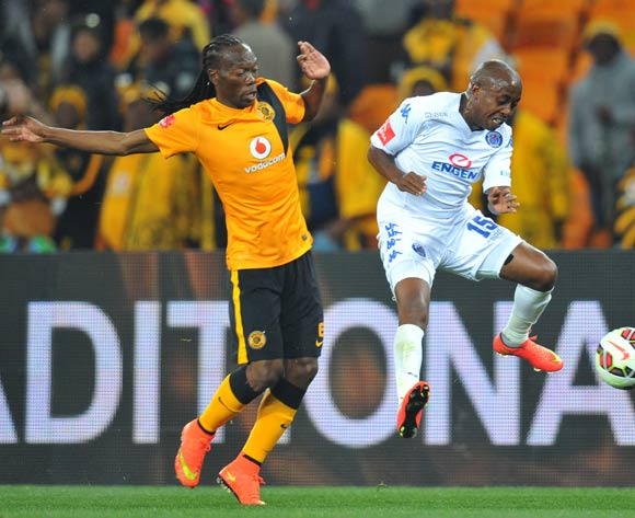 Bennett Chenene of Supersport United challenged by Reneilwe Letsholonyane of Kaizer Chiefs during the Absa Premiership match between Kaizer Chiefs and Supersport United at FNB Stadium on the 30 August 2014