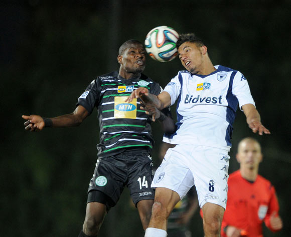 Toriq Losper of Bidvest Wits battles with Lerato Lamola of Bloemfontein Celtic during the 2014 MTN 8 Quarter Final match between Bidvest Wits and Bloemfontein Celtic at Bidvest Stadium,  Johannesburg on the 01 August  2014