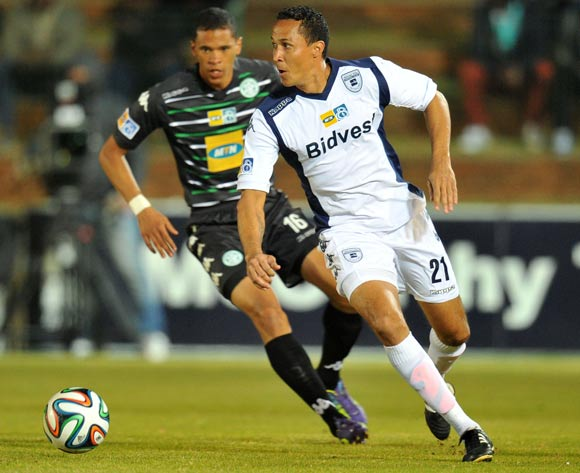 Henrico Botes of Bidvest Wits challenged by Bevan Fransman of Bloemfontein Celtic during the MTN8 Quarter final match between Bidvest Wits and Bloemfontein Celtic at the Bidvest Stadium, Johannesburg on the 01 August 2014