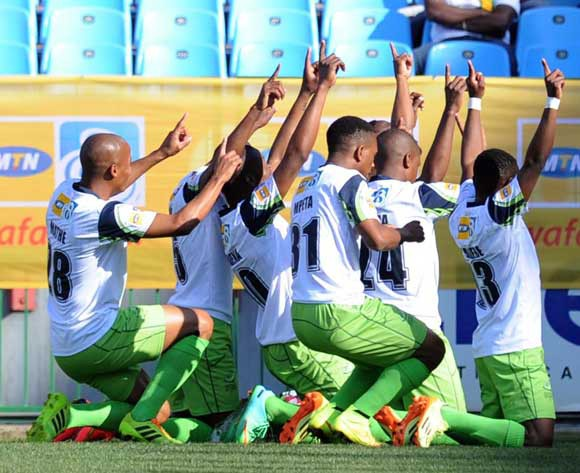 Platinum Stars celebrate during the MTN8 match between Mamelodi Sundowns and Platinum Stars  on the 02 August 2014 at Loftus Stadium