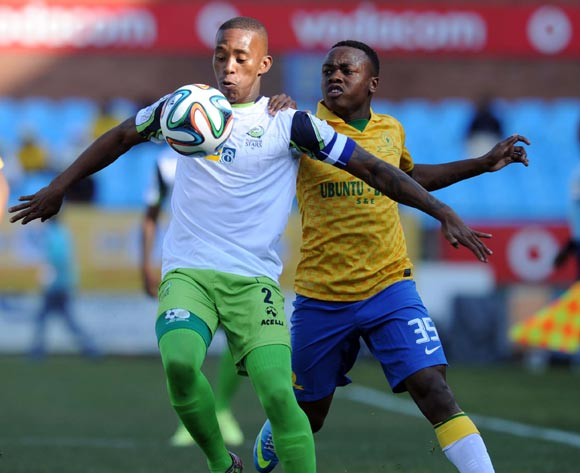 Vuyo Mere of Platinum Stars  battles with Percy Tau of Mamelodi Sundowns during the MTN8 match between Mamelodi Sundowns and Platinum Stars  on the 02 August 2014 at Loftus Stadium