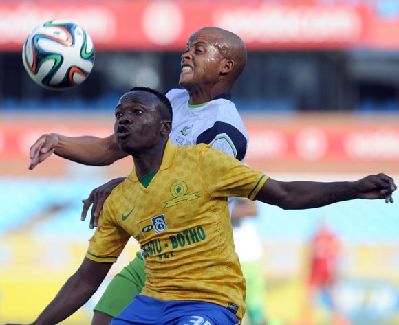 Solomon Mathe of Platinum Stars  battles with Percy Tau of Mamelodi Sundowns during the MTN8 match between Mamelodi Sundowns and Platinum Stars  on the 02 August 2014 at Loftus Stadium