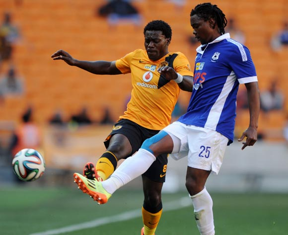 Mbulelo Mabizela of Black Aces challenged by Kingston Nkhatha of Kaizer Chiefs during the 2014 MTN 8 Quarter Finals match between Kaizer Chiefs and Black Aces at FNB Stadium,  Johannesburg on the 03 August  2014
