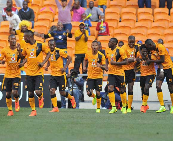 Kingston Nkhatha of Kaizer Chiefs celebrates his goal with his teammates during the 2014 MTN8 Quarter final match between Kaizer Chiefs and Black Aces at the FNB Stadium, Johannesburg on the 03 August 2014
