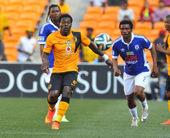 Kingston Nkhatha of Kaizer Chiefs challenged by Mzivukile Tom of Black Aces during the 2014 MTN8 Quarter final match between Kaizer Chiefs and Black Aces at the FNB Stadium, Johannesburg on the 03 August 2014