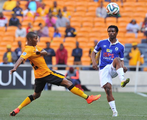 Mzivukile Tom of Black Aces challenged by Mandla Masango of Kaizer Chiefs during the 2014 MTN8 Quarter final match between Kaizer Chiefs and Black Aces at the FNB Stadium, Johannesburg on the 03 August 2014