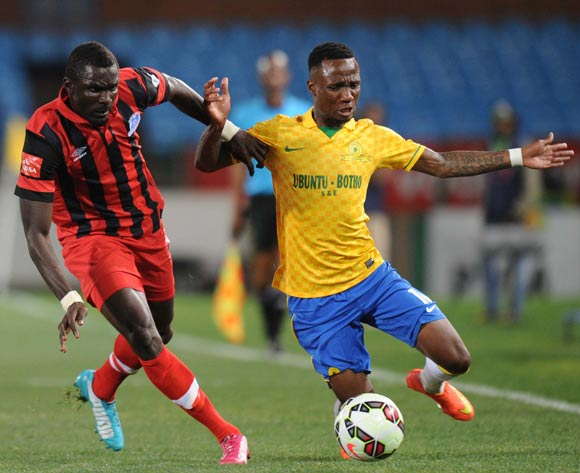 Teko Modise of Mamelodi Sundowns battles with Mohammed Awal of Maritzburg United during Absa Premiership match between Mamelodi Sundowns and Maritzburg United on the 08 August 2014 at Loftus Stadium