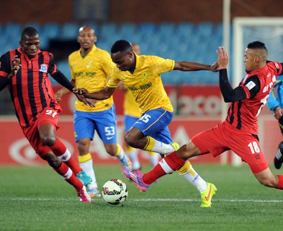 Percy Tau of Mamelodi Sundowns battles with Ryan De Jong of Maritzburg United during Absa Premiership match between Mamelodi Sundowns and Maritzburg United on the 08 August 2014 at Loftus Stadium