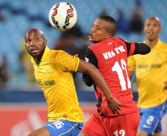 Ramahlwe Mphahlele of Mamelodi Sundowns battles with Sheldon Van Wyk of Maritzburg United during Absa Premiership match between Mamelodi Sundowns and Maritzburg United on the 08 August 2014 at Loftus Stadium