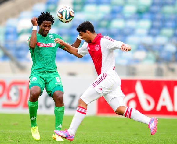 Bongani Ndulula of AmaZulu battles Travis Graham of Ajax Cape Town during the Absa Premiership 2014/15 football match between AmaZulu and Ajax Cape Town at the Moses Mabhida Stadium in Durban , Kwa-Zulu Natal on the 10th of August 2014