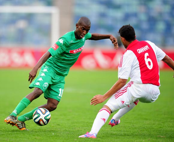Philani Shange of AmaZulu and Travis Graham of Ajax Cape Town during the Absa Premiership 2014/15 football match between AmaZulu and Ajax Cape Town at the Moses Mabhida Stadium in Durban , Kwa-Zulu Natal on the 10th of August 2014
