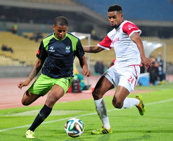 Mduduzi Nyanda of Platinum Stars challenged by Bokang Thato Thlone of Free State Stars during the Absa Premiership 2014/15 match between Platinum Stars and Free State Stars at Royal Bafokeng Stadium,  Rustenburg on the 13 August  2014