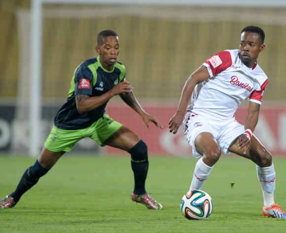 Thabo Moloi of Free State Stars challenged by Vuyo Mere of Platinum Stars during the Absa Premiership 2014/15 match between Platinum Stars and Free State Stars at Royal Bafokeng Stadium,  Rustenburg on the 13 August  2014