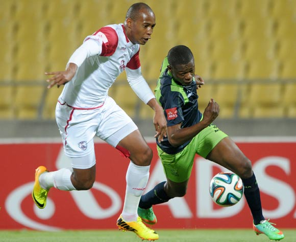 Ndumiso Mabena of Platinum Stars battles with Angula Dacosta of Free State Stars during the Absa Premiership 2014/15 match between Platinum Stars and Free State Stars at Royal Bafokeng Stadium,  Rustenburg on the 13 August  2014